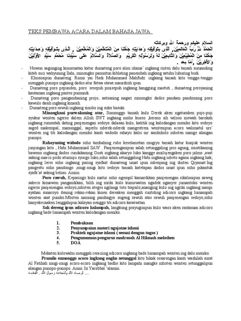 Teks Mc Tahlilan Bahasa Jawa Radar Publik