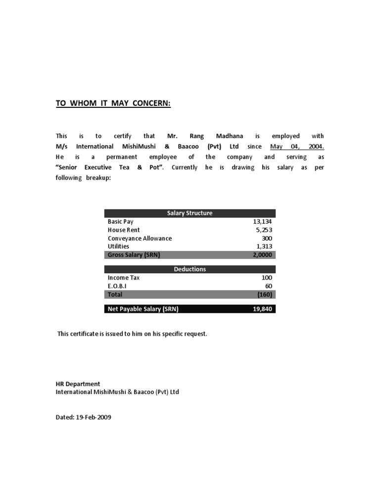 Salary Certificate Format for Bank Loan Salary – Sample Salary Certificate Letter