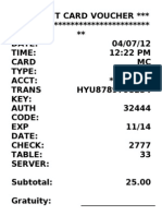 Fake Credit Card Receipt Template