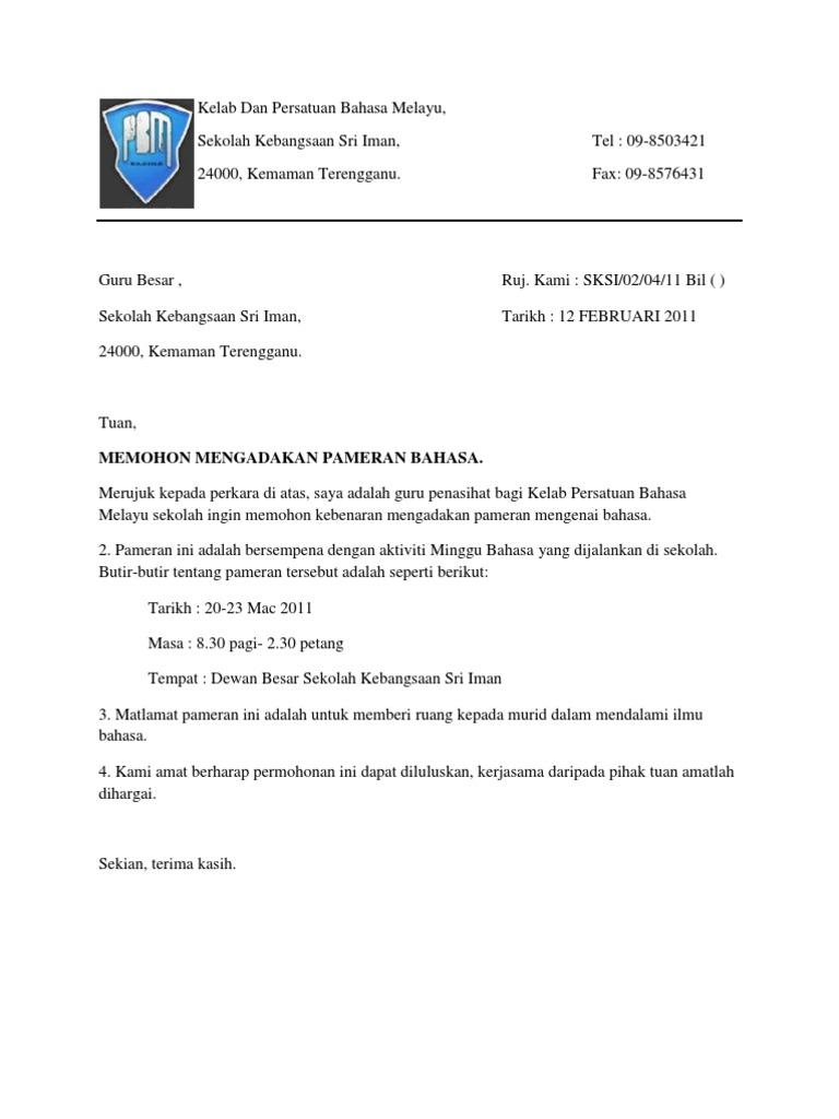 Contoh surat rasmi permohonan aktiviti Kelab Dan Persatuan