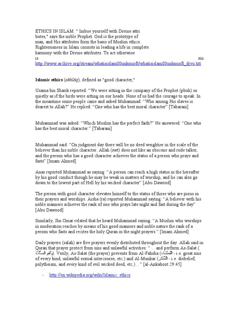 Ethics in Islam   Salat   Muhammad