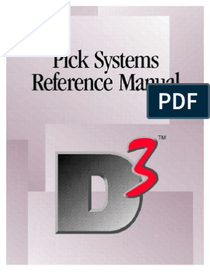 Pick Systems Reference Manual Database Index