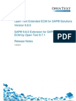 Release Notes - Open Text Extended ECM for SAP Solutions 9.8.0