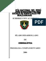 Silabo Desarrollado de Criminalistica