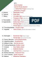 Pathognomonic Signs