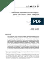 LA EDUCACIÓN SOCIAL EN SIMÓN RODRÍGUEZ. Social Education in Simon Rodriguez