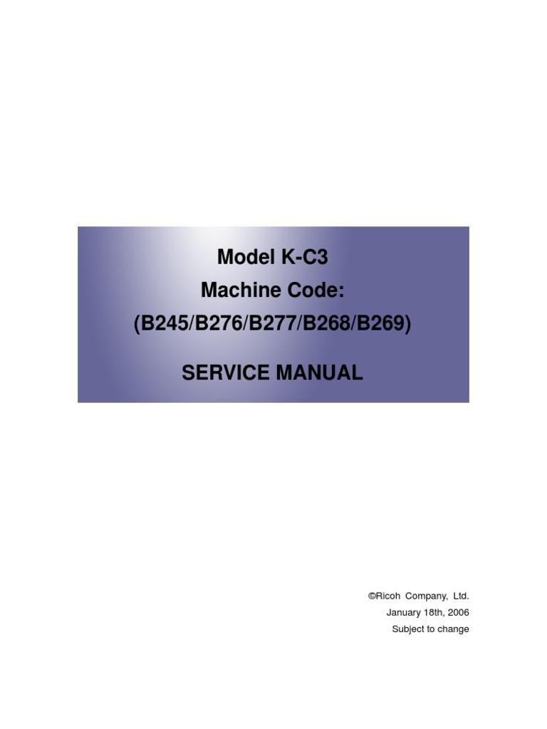Aficio Mp2000 Service Manual