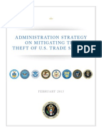 Obama Administration strategy on mitigating theft of U.S. trade secrets