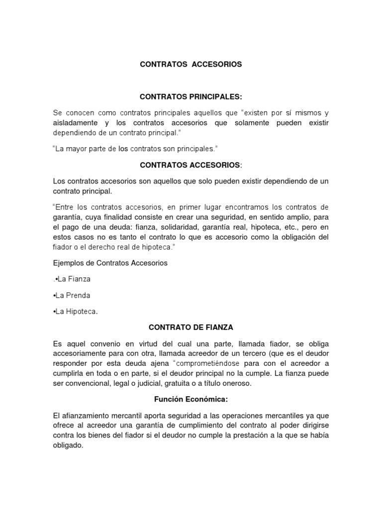 Contratos principales y accesorios trabajo for Contrato de hipoteca