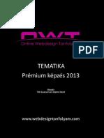 Online Webdesign Tanfolyam Tematika 2013 Prémium képzés