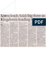 Korea Leads Asia's Big Three as Kingdom's Leading Investor