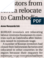 Investors From Korea Relocate to Cambodia