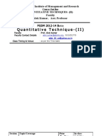 Course Outline for Trimester-II of QT-II