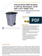 Rubbermaid Commercial Brute HDPE 50-Gallon Rollout Trash Can With Lid, Rectangular, 23.38 Width x 28