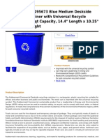 Rubbermaid FG295673 Blue Medium Deskside Recycling Container With Universal Recycle Symbol, 28-1 8 Qt