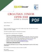 Croatian Junior Open 2013 - Invitation