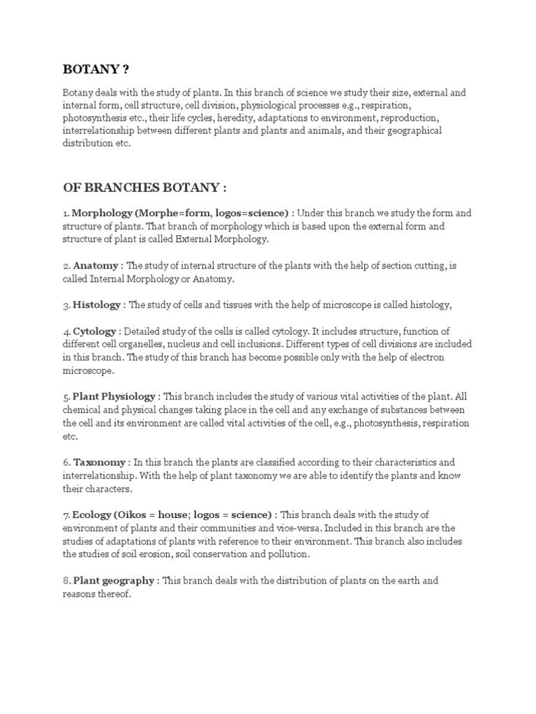 BOTANY.docx | Botany | Plants