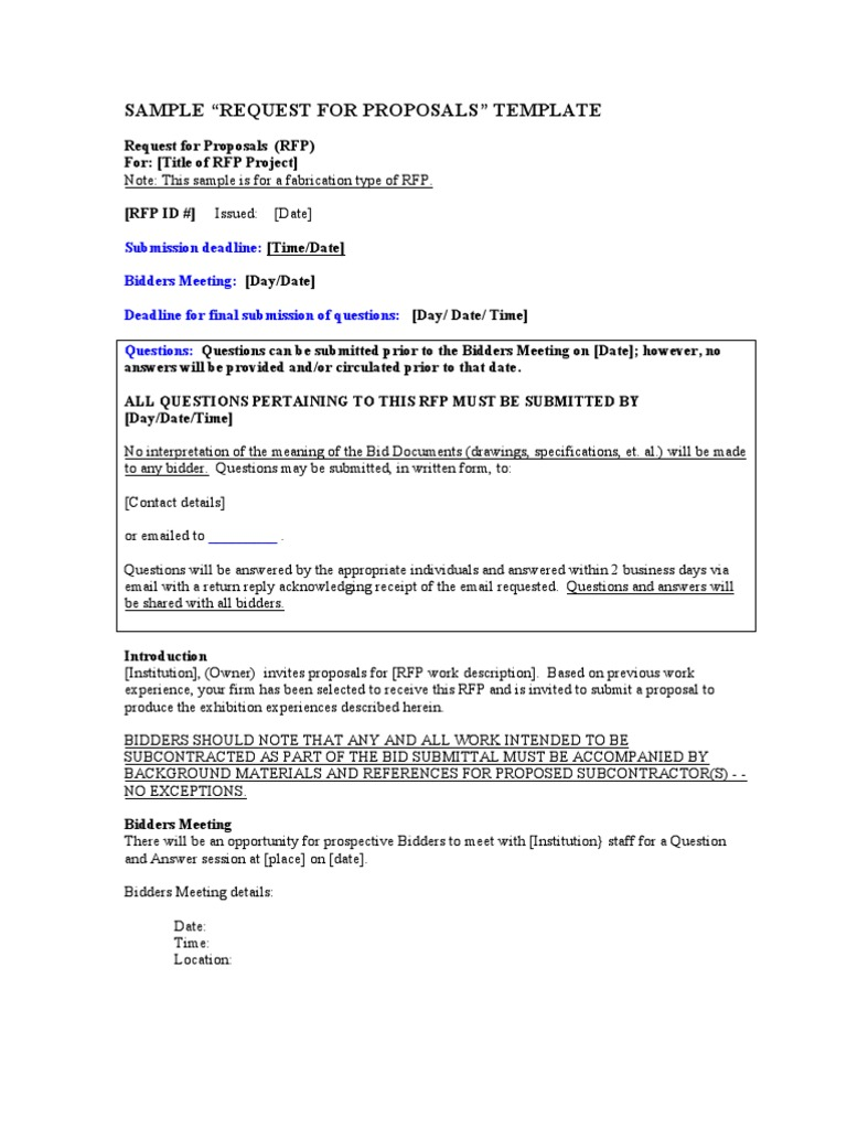 Rfp Template Request For Proposal General Contractor