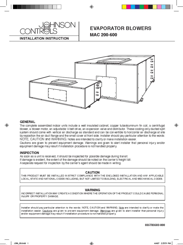 ahu instalation manual york air conditioning belt mechanical rh scribd com