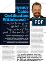 """Emergency Cable Certification Withdrawal - the problems gone global - could """"equivalency"""" be part of the solution? North American Tunneling Journal January 2013 TJ Dec-Jan 2013"""