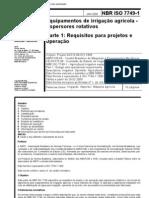 Nbr 07749 - Equipamentos de Irrigacao Agricola - Aspersores Rotativos - Parte 1 Requisitos Para p