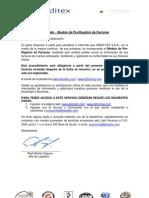 Comunicado Pre-Registro de Factura Creditex