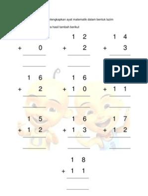 Lembaran Kerja Matematik Operasi Tambah