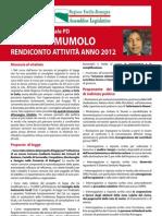Rendiconto 2012 Consigliere regionale Antonio Mumolo