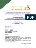 Parashat Tetzavéh # 20 Adul 6013