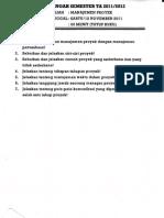 Soal UTS manajemen proyek 2011