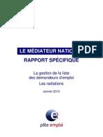 Médiateur Pôle emploi Rapport Radiations