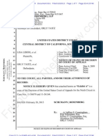 C.D CA ECF 601 - 2013-02-20 - Liberi v Taitz - Notice of Filing of Decision of Court of Appeals