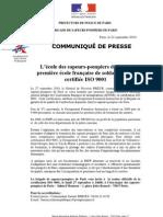 L'école des sapeurs-pompiers de Paris, première école française de soldats du feu certifiée ISO 9001