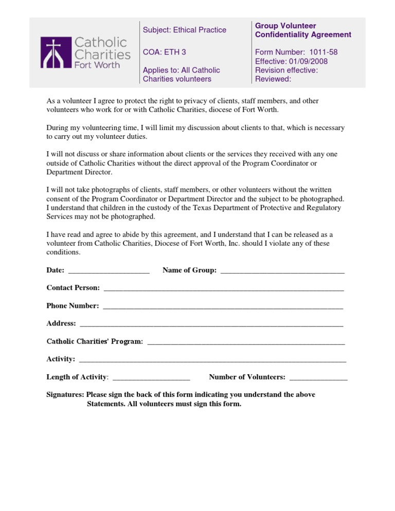 Volunteer Group Confidentiality Agreement Form