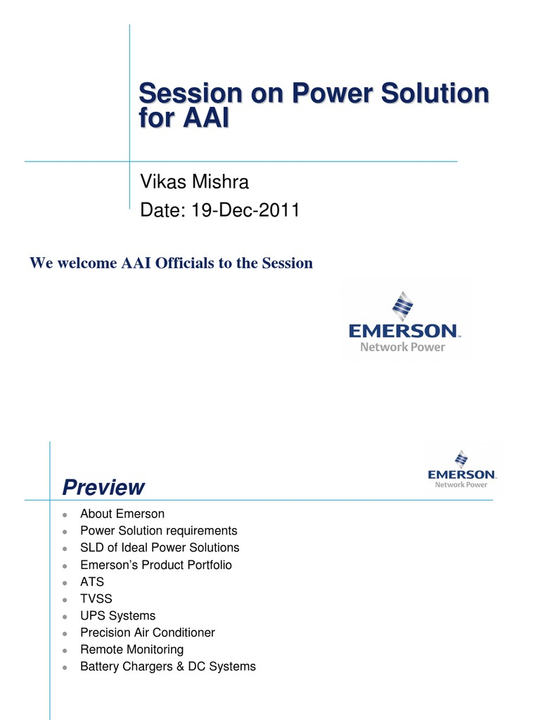Emersons Power Solution To Aai 19 Dec 11 Electric System 2kva Ups Circuit Diagram Mains Electricity