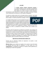 SUSPENCIÓN DE COLOIDES Y METODOS DE SEPARACIÓN DE MEZCLAS