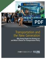 El Transporte y la Nueva Generación en Estados Unidos. ¿Por qué la gente joven está manejando el auto menos?