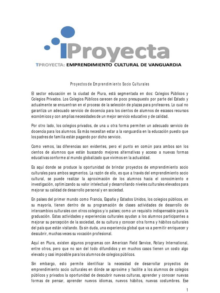 bb4ad6057a Proyectos de Emprendimiento Socio Culturales ciudad Piura