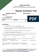 Regular Evaluation Test IV Science X A