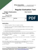 Regular Evaluation Test IV Maths VIII A