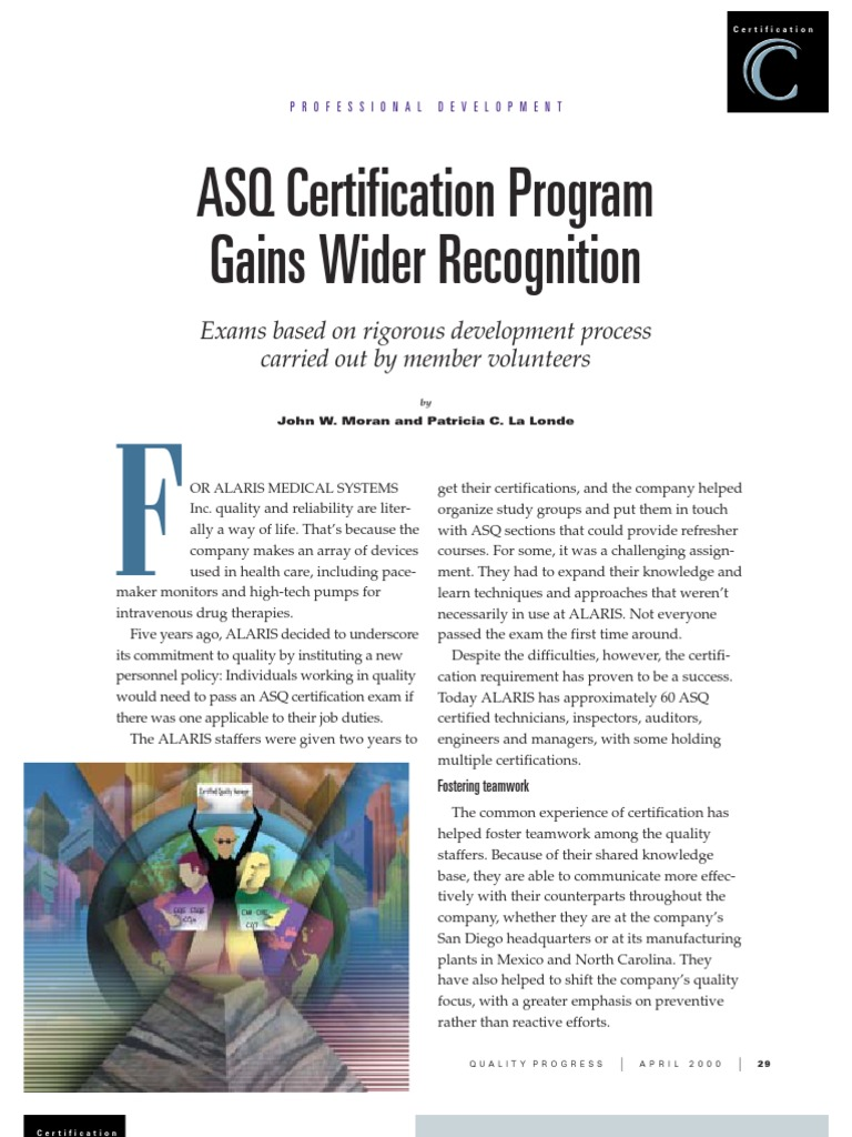 asq certification certificate wider recognition program gains greater fort