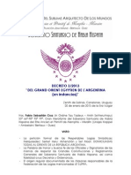 """Decreto 3/2013 Soberano Santuario de Habla Hispana Rito Antiguo y Primitivo de Memphis Misraim (r) """"Del Gran Oriente Egipcio de la Argentina"""""""