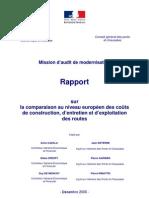 Rapport_Couts Construction Exploitation Et Entretien Des Routes_Europe