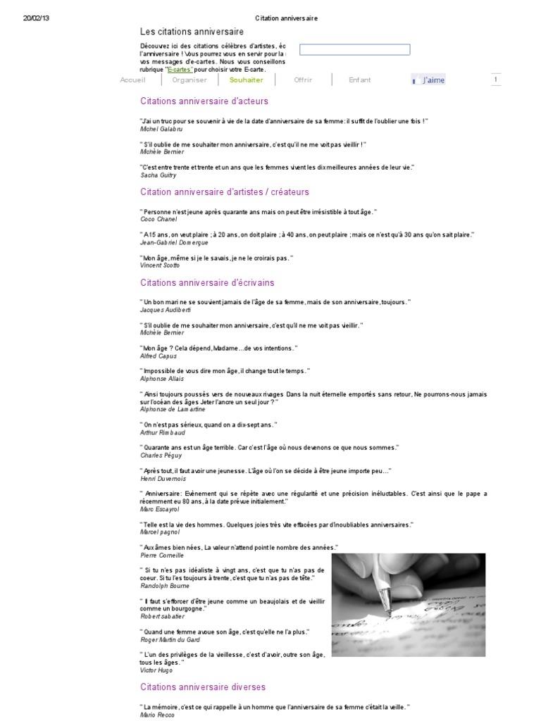 Citation Anniversaire Littérature Française écrivains
