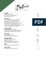 Bellini's Wine List