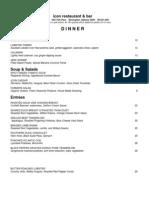 Icon Dinner Menu