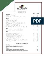 La Dolce Vita Wine List