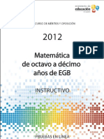 Instructivo Matematica 8a10 EGB 2012