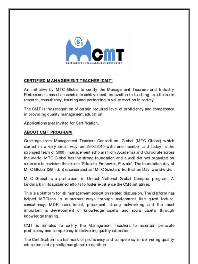 Cmt certified management teacher process mtc global competence cmt certified management teacher process mtc global competence human resources further education 1betcityfo Image collections