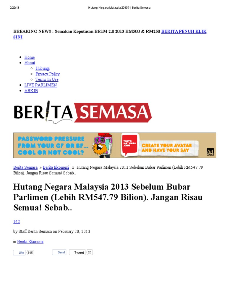 Hutang Negara Malaysia 2013 Berita Semasa